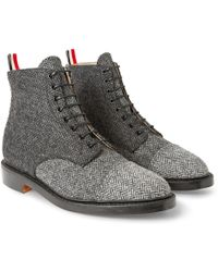 Thom Browne Herringbone Tweed Derby Boots - Lyst