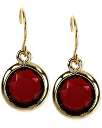 Anne Klein Goldtone Siam Stone Drop Earrings - Lyst