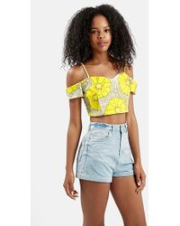 Topshop Floral Print Cold Shoulder Top yellow - Lyst