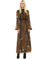 Anna Sui | Garden Of Eden Maxi Dress - Black Multi | Lyst