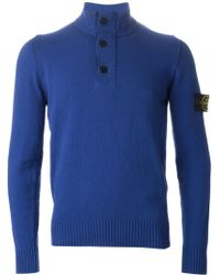 Stone Island Buttoned Neck Sweater - Lyst