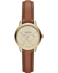 Burberry Ladies Goldtone Stainless Steel Beige Leather Strap Watch - Lyst