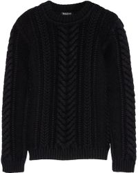 Balmain Cable-Knit Wool Sweater - Lyst