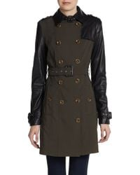 W118 by Walter Baker Theo Mixed Media Trench Coat - Lyst