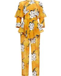 Tata Naka - Orange Wallpaper Ruffle Jumpsuit - Lyst