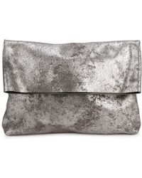 Eileen Fisher - Metallic Fold-over Suede Clutch - Lyst
