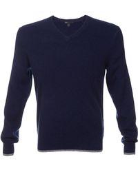 Scp Cashmere Vneck Contrast Trim Sweater - Lyst