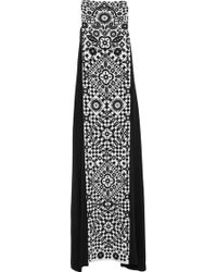 Holly Fulton - Silk Printed Long Pleated Totem Dress - Lyst