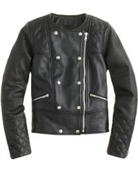 J.Crew Collection Quilted Leather Motorcycle Jacket - Lyst