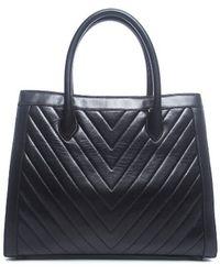 Chanel Black Lambskin Chevron Tote Bag - Lyst