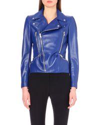 Alexander McQueen Asymmetric Leather Biker Jacket - Lyst