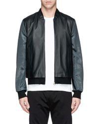 Paul Smith Contrast Satin Sleeve Leather Bomber Jacket - Lyst