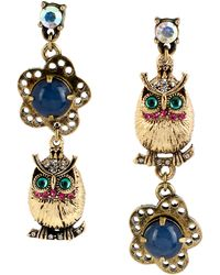 Betsey Johnson - Gold-Tone Owl And Flower Bead Mismatch Drop Earrings - Lyst