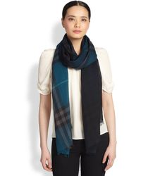 Burberry Giant Check Ombre Wool Scarf - Lyst