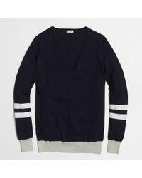 J.Crew Factory V-Neck Sweater in Varsity Stripe - Lyst