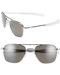Randolph Engineering - 55mm Polarized Aviator Sunglasses - Bright Chrome/ Grey Polar - Lyst