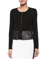 Nanette Lepore Fierce Leather-Fringed Cardigan - Lyst