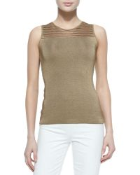 Ralph Lauren Black Label - Mesh-yoked Chain-knit Tank Top - Lyst