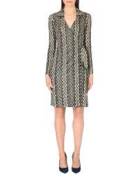 Diane von Furstenberg Dolores Metallic-knit Wrap Dress - Lyst