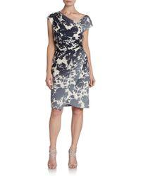 Vera Wang Asymmetrical Floralprint Dress - Lyst