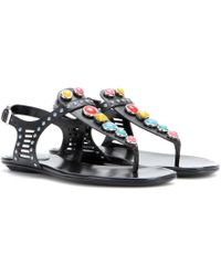 Gucci Embellished Leather Sandals - Lyst