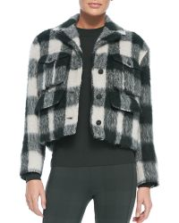 Rag & Bone Louisiana Cropped Fuzzy Plaid Jacket - Lyst
