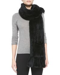 Belle Fare Knitted Rabbit Fur Wrap With Pocket - Lyst
