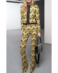 Giambattista Valli Embroidered Yellow Chevron Pant - Lyst