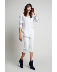 Free People White Super Crop - Lyst