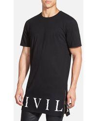 Civil Regime - Longline T-shirt With Zip Detail - Lyst