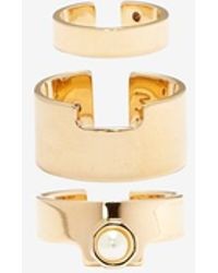 Maria Francesca Pepe Exclusive Pearl Ring Set gold - Lyst
