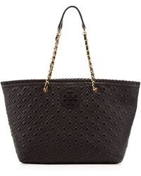 Tory Burch Marion Quilted Tote Bag Black - Lyst