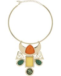 Topshop Womens Marble Green Stone Collar - Multi - Lyst