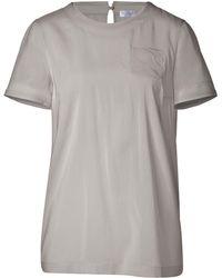 Brunello Cucinelli Short Sleeve Silk Top - Lyst
