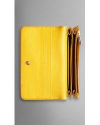 Burberry Haymarket Check Patent Trim Continental Wallet - Lyst
