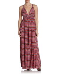 T-bags Printed Tiered Maxi Dress - Lyst