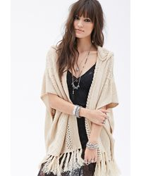 Forever 21 Hooded Fringed Batwing Cardigan - Lyst
