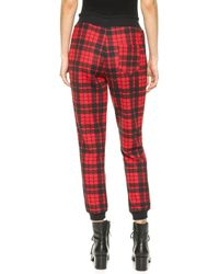 Re:named - Quilted Plaid Jogger Trousers - Off White/Black - Lyst