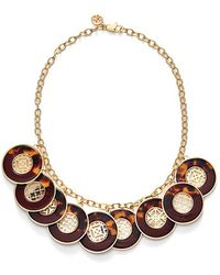 Tory Burch Frontal Necklace - Cabernet/ Tortoise/ Shiny Gold gold - Lyst