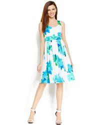 Calvin Klein Floral-Print A-Line Dress blue - Lyst