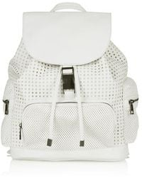 Topshop White Perforated Backpack - Lyst