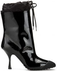 Miu Miu Patent-Leather Boots With Rubber - Lyst