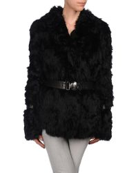 John Galliano Black Fur Outerwear - Lyst