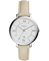 Fossil Women'S Jacqueline White Leather Strap Watch 36Mm Es3793 - Lyst