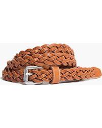 Madewell Skinny Leather Braided Belt beige - Lyst