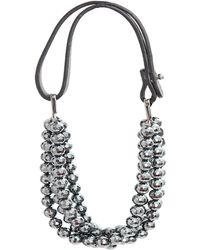 Brunello Cucinelli - Hematite Bead Threestrand Necklace - Lyst
