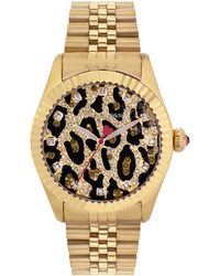 Betsey Johnson  Gold Tone Watch with Crystal Leopard Dial - Lyst