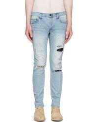 Diet Butcher Slim Skin - Blue Skinny Damaged Repair Jeans - Lyst
