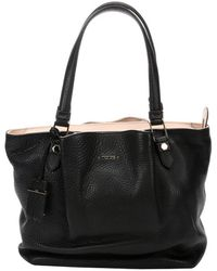 Tod's Black Pebbled Leather Top Handle Tote - Lyst