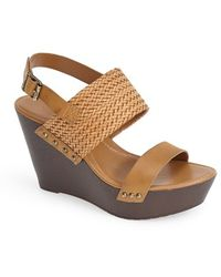 Charles by Charles David 'Isola' Leather Wedge Sandal - Lyst